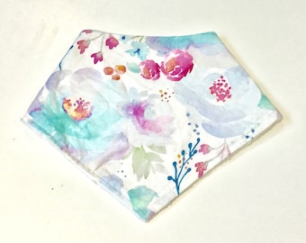 Purple and Blue Watercolour Floral Indie Bloom Baby Girl Bandana Bib, Baby Girl Bandana Bib, Baby Bib, Summer Bib, Purple Floral Baby Bib