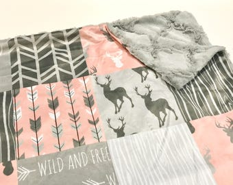 Coral Pink and Grey Deer Baby Girl Minky Blanket