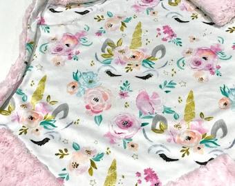 Pink Whimsical Unicorns Baby Girl Blanket - Minky Baby Blanket, Gold Unicorn Pink Baby Blanket, Ready to Ship Baby Blanket, Baby Shower Gift