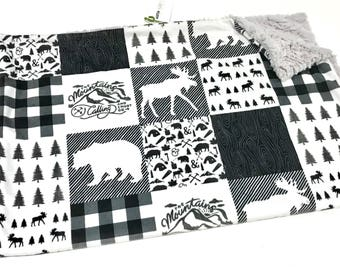 Baby Boy MINKY Baby Blanket, Pacific Bear Faux Quilt Baby Blanket, Woodland Deer and Bear Baby Blanket, Ready to Ship, Mountains Blanket