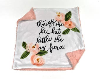 Though she is Little She is Fierce Baby Girl Blanket, Coral Pink Floral Minky Baby Blanket, Pink Baby Blanket, Baby Shower Gift