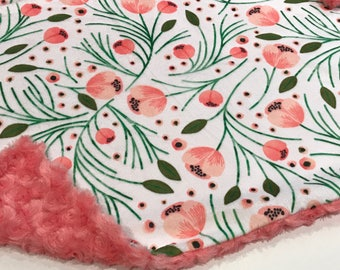 Coral Pink Winter Floral Baby Blanket Lovey, Baby Girl Minky Lovey, Coral Flowers Baby Blanket, Ready to Ship, Baby Shower Gift