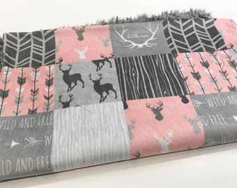Coral and Grey Woodland Faux Quilt Minky Baby Blanket with Silver Llama Minky