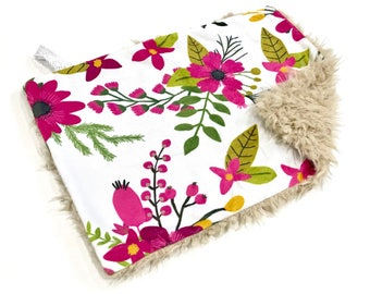 Autumn Orchid Sprigs and Bloom Floral Baby Girl MINKY Lovey Blanket, MINI Minky Baby Blanket, Taggie Blanket, Baby Bedding, Magenta Floral