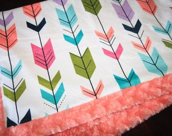Coral Arrows Baby Blanket, Girl Baby Blanket, Baby Girl MINKY Blanket, Minky Baby Blanket, Arrows Baby Blanket, Ready to Ship Baby Blanket