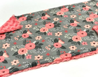 "Pink and Grey Floral Baby Blanket Lovey, Girl Minky Lovey, Floral Bloom Floral Baby Blanket, Ready to Ship, Faux Fur Baby Blanket 18"" x 27"""
