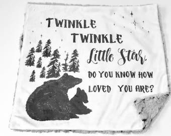 Twinkle Twinkle Little Star Baby Boy Blanket, Monochrome Grey Minky Baby Blanket, Woodland Bear Personalized Baby Blanket, Baby Shower Gift