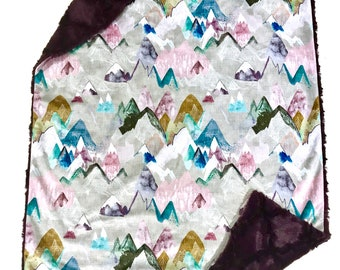 Pink and Purple Pastel Mountains Baby Girl  Blanket, Adventure Baby Bedding, Baby Girl MINKY Blanket, Grey Minky Baby Blanket, Ready to Ship
