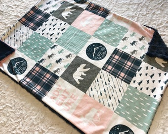 Pink and Navy Plaid Baby Girl Blanket - Happy Camper Deer Minky Baby Blanket, Baby Shower Gift, Ready to Ship Blanket
