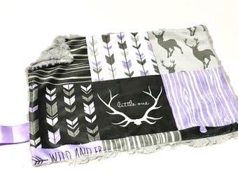 Purple Deer Baby Girl MINKY Lovey Blanket, MINI Minky Baby Blanket, Taggie Blanket, Pink and Black Woodland Lovey Blanket, Baby Shower Gift