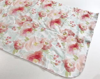 Red and Pink Floral Watercolour Organic Cotton Knit Swaddle Blanket