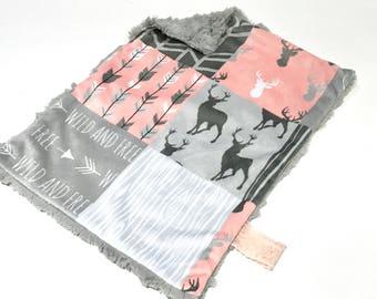 Coral Pink Deer Baby Girl MINKY Lovey Blanket, MINI Minky Baby Blanket, Taggie Blanket, Pink and Grey Woodland Lovey Blanket, Baby Shower