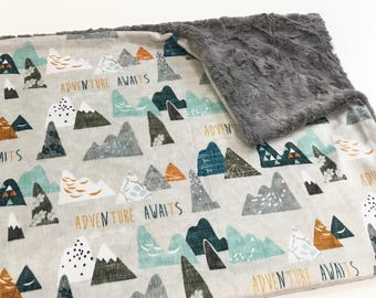 Earth Adventure Awaits Baby Boy Minky Blanket