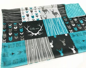 Teal and Grey Deer Woodland Faux Quilt Baby Boy Minky Blanket