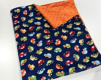 Navy Blue Cars Baby Boy Minky Blanket