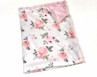 Blush Floral Roses Baby Girl Blanket - Minky Baby Blanket, Pink Floral Baby Blanket, Ready to Ship, Baby Shower Gift