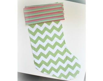 Christmas Stocking - Personalized Stocking - Fully Lined Cotton Stocking - Green and White Chevron