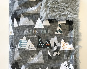 Mountains Baby Boy Blanket. Adventure Awaits. Baby MINKY Blanket, Grey Baby Bedding. Faux Fur Baby Blanket, Ready to Ship Baby Boy Blanket