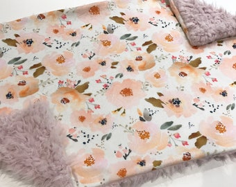 Pink and Peach Floral Baby Blanket Lovey, Baby Girl Minky Lovey, Indy Bloom Floral Baby Blanket, Ready to Ship, Faux Fur Baby Blanket