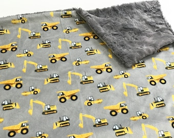 Construction Trucks Baby Blanket, Diggers  and Dump Trucks Baby Bedding, Baby Boy MINKY Blanket, Yellow and Grey Baby Blanket, Ready to Ship
