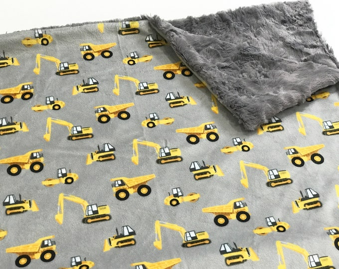 Featured listing image: Construction Trucks Baby Blanket, Diggers  and Dump Trucks Baby Bedding, Baby Boy MINKY Blanket, Yellow and Grey Baby Blanket, Ready to Ship