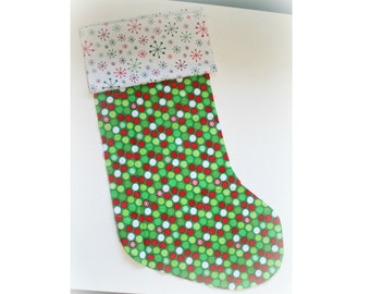 Christmas Stocking - Personalized Stocking - Fully Lined Cotton Stocking - Small Red/Green/White Dots