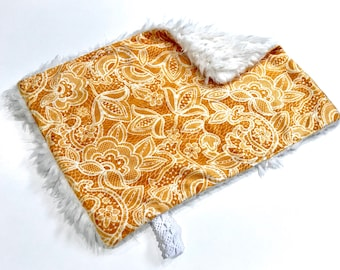 Mustard Yellow and White Floral Lace Baby Girl MINKY Lovey Blanket, MINI Minky Baby Blanket, Taggie Blanket, Baby Bedding, Baby Shower Gift