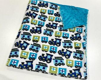Blue Trains Baby Boy Minky Blanket