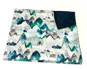 Navy Blue Evergreen Mountains Baby Boy Minky Blanket