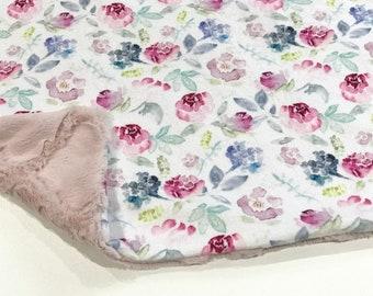Vintage Rose Floral Baby Girl Blanket - Minky Baby Blanket, Pink Floral Baby Blanket, Ready to Ship, Baby Shower Gift