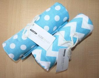 Blue Baby Receiving Blanket - Oversized Single-Sided Flannel Baby Receiving Blanket - Swaddle Blanket - Chevron Dots Baby Boy Blanket