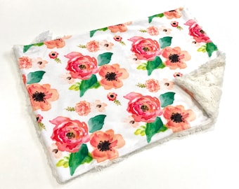 Coral Floral Dream Baby Girl MINKY Lovey Blanket, MINI Minky Baby Blanket, Taggie Blanket, Baby Bedding, Baby Lovey Blanket, Floral Lovey
