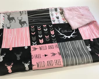 Pink Deer Baby Girl Blanket. Baby MINKY Blanket, Grey Baby Bedding. Woodland Baby Blanket, Ready to Ship Baby Girl Blanket, Baby Shower Gift