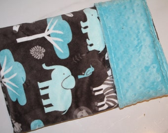Baby Boy MINKY Blanket, Minky Baby Blanket, Boy Baby Blanket, Blue Animals Baby, Jungle Elephant Animals, Ready to Ship Baby Boy Blanket