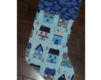 Christmas Stocking - Personalized Stocking - Fully Lined Cotton Stocking - Blue Winter Houses