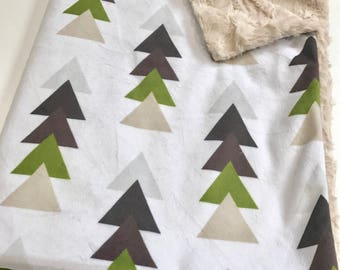 Brown Woodland Baby Blanket, Natural Brown and Green, Baby Boy Blanket, Baby Shower Gift, Natural Stacked Triangles, Woodland Trees Nursery
