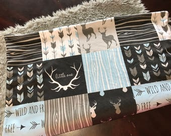 Blue Deer Baby Boy Blanket. Baby MINKY Blanket, Grey and Black Baby Bedding. Faux Fur Baby Blanket, Ready to Ship Baby Boy Blanket, Woodland