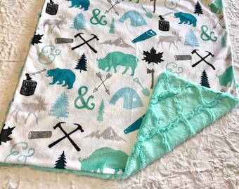 Woodland Baby Blanket, Deer Moose Baby Bedding, Baby Boy MINKY Blanket, Sea Glass Woodcutter Blue Baby Blanket, Baby Shower Gift