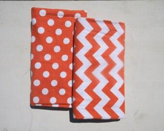 Orange Baby Receiving Blanket - Oversized Single-Sided Flannel Baby Receiving Blanket - Swaddle Blanket - Chevron Dots Baby Boy Blanket
