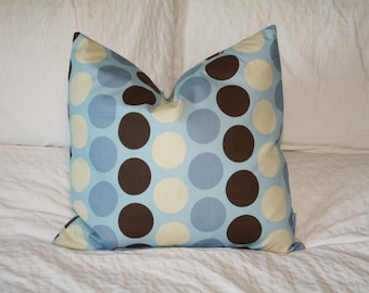 """20"""" x 20"""" Square Pillow Cover - Tan/Blue/Brown Dots, Cushion Cover, Throw Pillow, Premier Prints, Baby, Nursery, Home, Beach, Cottage Pillow"""