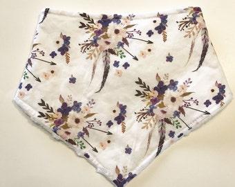 Baby Girl Bandana Bib, Valentines Baby Bib, Boho Watercolour Floral Bandana Bib, Drool Bib, Purple Baby Bib, Baby Shower Gift, Purple Flower