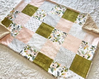 Floral and Lace Baby Girl Blanket. Baby MINKY Blanket, Baby Bedding. Baby Shower Gift, Ready to Ship Baby Blanket, Pink and Mustard