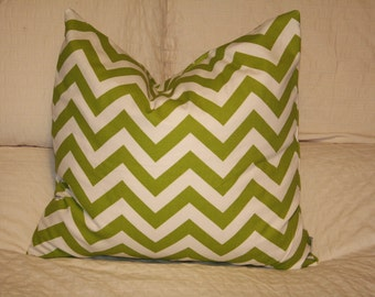 """20""""x20"""" Square Pillow Cover, Lime Green Chevron ZigZag, Cushion Cover, Throw Pillow, Premier Prints, Baby, Nursery, Home, Zoo Pillow"""