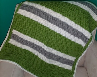 Crochet Baby Blanket - Stripes, Green White Grey Blanket, Baby Boy Blanket, Baby Blanket, Crochet Baby Boy Blanket, Baby Afghan, Crib Quilt