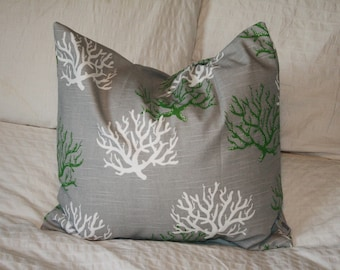 """20"""" x 20"""" Square Pillow Cover - Green, Grey and White Coral, Cushion Cover, Throw Pillow, Premier Prints, Baby, Nursery, Home Decor"""