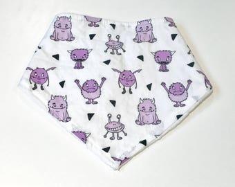 Purple Cute Monsters Baby Girl Bandana Bib, Baby Girl Bandana Bib, Baby Bib, Summer Bib, Purple Monsters Baby Bib