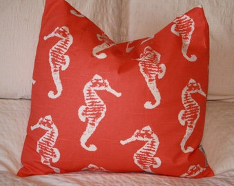 """20"""" x 20"""" Square Pillow Cover - Coral Seahorses Print, Cushion Cover, Throw Pillow, Premier Prints, Baby, Nursery, Home Decor"""
