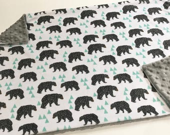 Mint Geometric Bears Baby Blanket Lovey, Baby Boy Minky Lovey, Grey and Mint Bears Woodland Blanket, Ready to Ship, Baby Boy Blanket