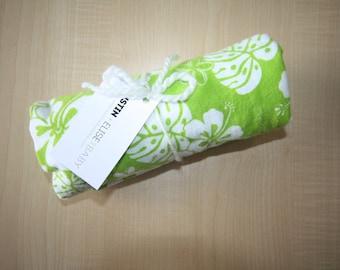 Baby Girl Blanket - Girl Swaddle Blanket - X-Large Flannel Baby Receiving Blanket - Swaddle Blanket - Lime Green Aloha Flowers Blanket