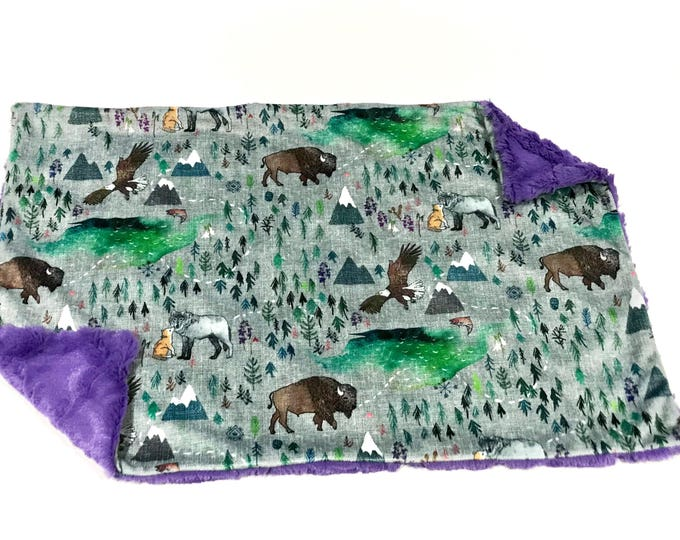 Featured listing image: Grey Mountain The Boreal Woodland Baby Blanket, Forests Woodland Baby Lovey Purple Baby Girl MINKY Blanket, Ready to Ship Baby Lovey